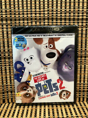 The Secret Life Of Pets 2 4K (2-Disc Blu-ray, 2019)Kevin Hart.Kids/Family.