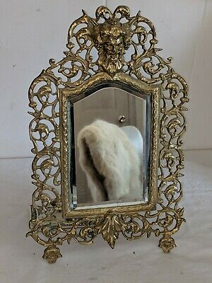 Antique Bacchus Bronze Brass Beveled Hanging Wall or Standing Easel Back Mirror