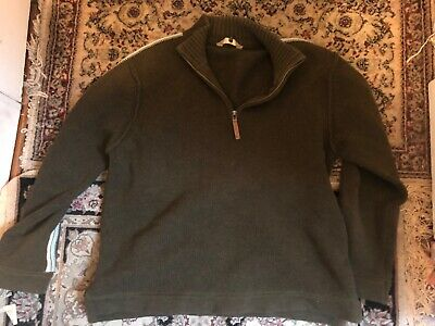 FAT FACE Olive Green  Jumper Sweater Mens Small M 1/4 Zip Henley Neck Speckle
