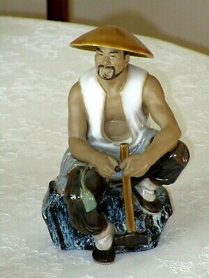 Vintage Ceramic Chinese Fishman Figurine Ornament Shiwan Art Glazed Pottery Gift