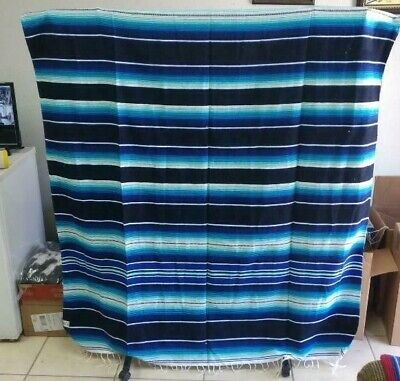 SARAPE XXL,5'X7', Mexican blanket, HOT ROD, Seat covers,MOTORCYCLE, Blue & Blue