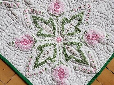 "LOVELY! Vintage Quilt Embroidered PINK GREEN on WHITE Flowers 88"" x 76"" SPRING"