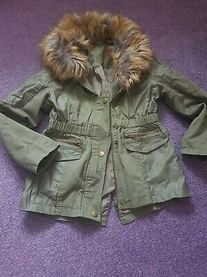 Girls Khaki Spring Parka Coat Jacket Size 7/8 Years