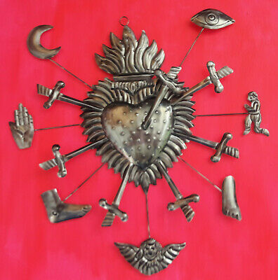 Amazing Sacred heart punched tin Mexican hand made Folk Art milagros