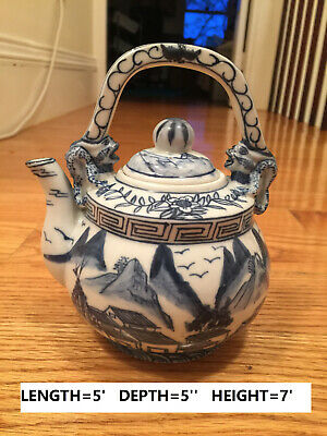 china teapot, old, hand-made, blue and white, porcelain