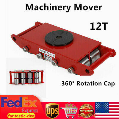 12 Ton Machinery Mover Cargo Dolly Skate Roller w/360° Rotation Cap 26400LBS Red