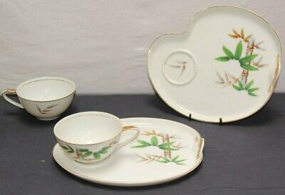(2 Sets) Bamboo China Tea Cup and Snack Plate with Gold Trim (Made in Japan)