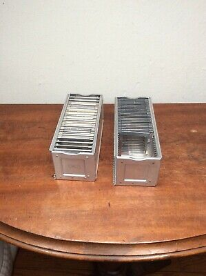 Lot of 2 Vintage  Airequipt Straight  Slide Projector Magazine Trays w/  Photos