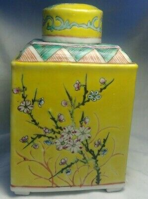 Square Yellow Chinese Porcelain Floral Footed Tea Caddy Jar Antique