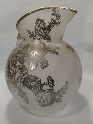 Rare Antique Pitcher Frosted Glass With Silver Overlay Floral Pattern