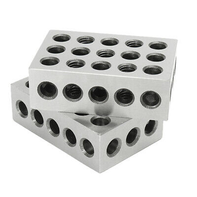 """1-2-3 Blocks 23 Holes Matched Pair Ultra Precision .0001"""" Machinist 123 Jig"""