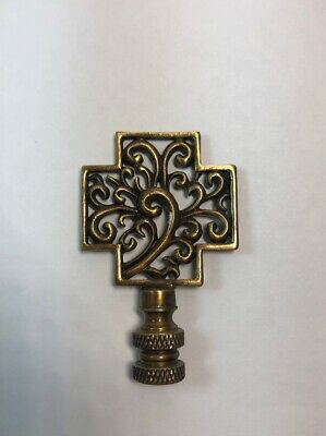 "New 2 5/8"" Ornate Solid Brass Lamp Finial Antique Finish 1/4"" Thread Showcase"