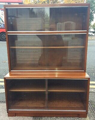 Vintage Minty Of Oxford Mahogany Three Tier Stacking Bookcase Cabinet No.1