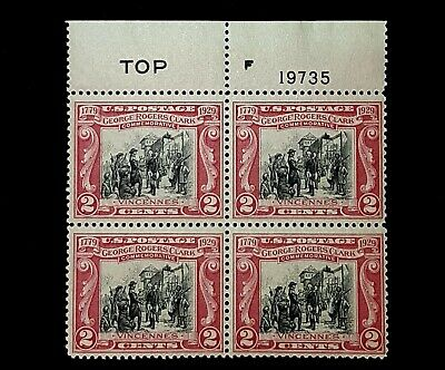 1929 TOP Plate Block 621! Mint MNH Georges Rogers Clark! Selvage gum skips