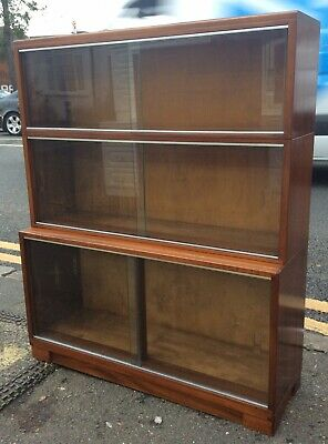 Vintage Minty Of Oxford Mahogany Three Tier Stacking Bookcase Cabinet No.2