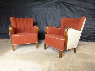 EB559 Pair of Stained Beech and Maroon Wool Lounge Chairs Vintage Danish Retro
