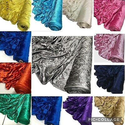 Premium Dressmaking Crushed Velvet Fabric Stretch Velour Craft Material 60''