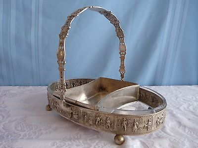 GERMANY 3 Section Divided 19c REPOUSSE SILVER & ETCHED GLASS BASKET Stamped
