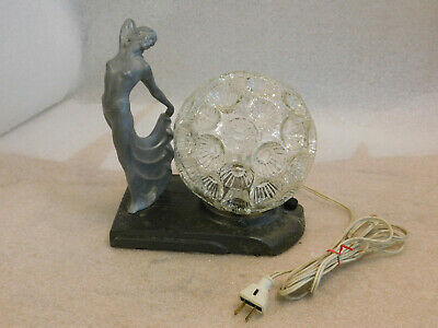 Art Deco Lady Mounted On Greist Lamp Base With Glass Globe