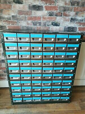 Vintage Mid Century Industrial Index Draws Cabinet Stripped Front