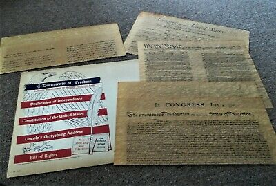 Reproductions of 4 Documents of Freedom on Antiquated Parchment Paper 1956