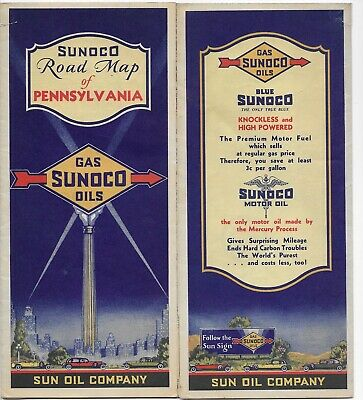 Rare 1932 Sunoco PA Road Map - Blue Oil Gas Service Station Sun Can Sign Route