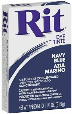 Rit Dye Navy Blue Dry Powder All Purpose Fabric Dye 1.12 ounce Concentrated