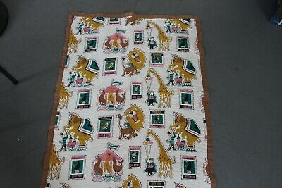 Vintage Circus-Themed Baby / Crib Panel Quilt - Hand-Quilted