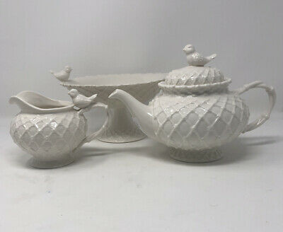 Graces Teaware Porcelain Set Includes Cake Dish Creamer And Teapot With Birds
