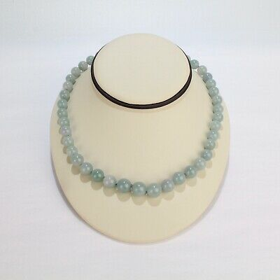 Vintage Chinese Celadon Jade Beaded Hand Knotted Necklace - VR