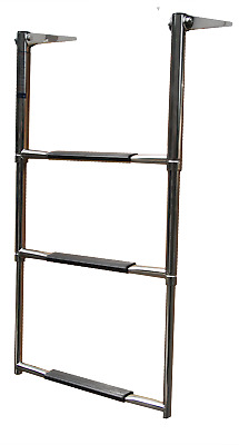 Telescoping 3 WIDE Step Stainless Steel Boat Ladder