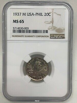 1937 M 20 Centavos Silver Philippines NGC MS 65