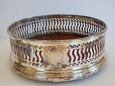 Antique Vintage B & Co COMPANY Sterling Silver Wine Coaster w/Hardwood Insert