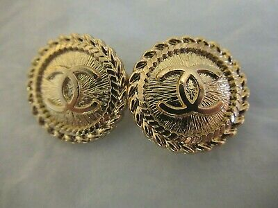 CHANEL  2 CC  LOGO GOLD  tone 20mm BUTTONS THIS IS FOR TWO STAMPED