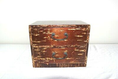 Japanese Haribako Wood Sewing Vanity Jewelry Box Hidden Drawer