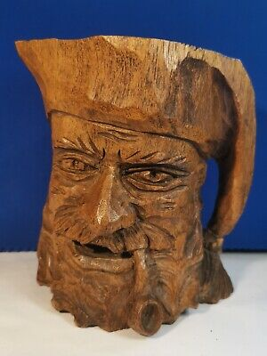 Large Vintage Hand Carved Black Forest Wooden Figural Mug Cup