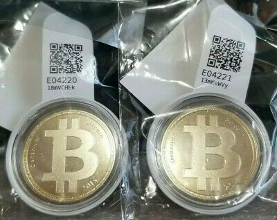 (2 Pack) Denarium Bitcoin: Gold Plated Brass, FUNDED w/.001 BTC Each.
