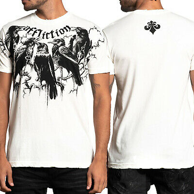 Affliction Black Crows Dead Tree Branches Skull Cross Charms Mens T-Shirt White