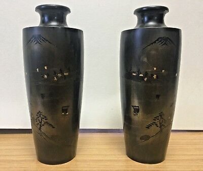 A Pair Of Japanese Meiji Bronze Vases both SIGNED