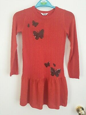 Girls Age 7-8 Yeats M&Co Red Glittery Jumper Dress With Butterfly Sequin...