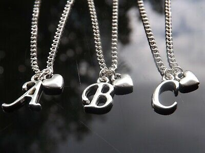 "Personalised Initial 16-20"" Necklace, Mini Heart Pendant & Silver Plated Letter"