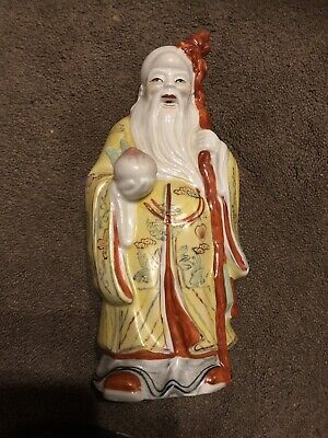 Chinese  Famille Rose porcelain Figurine Longevity God immortal Peaches Statue