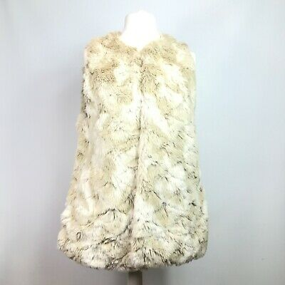 Next Women's Size 18 Light Beige Faux Fur Fluffy Gilet Body Warmer