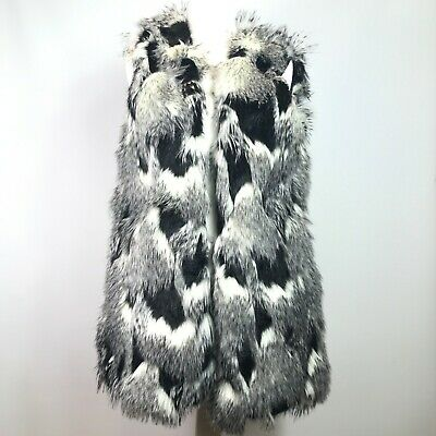 Next Women's Size 16 grey,black & white faux Fur Fluffy Gilet Body Warmer