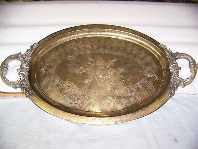 """Turkish Large Copper Serving Tray 22"""" x 12"""" Ornate brass handles Engrave Designs"""