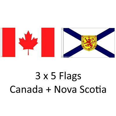 CANADA + NOVA SCOTIA 3ft x 5ft BANNER/FLAG 2 PK HIGH QUALITY 100% POLYESTER