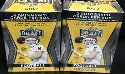 (2) 2018 Leaf Draft Football Factory Sealed 20 Pack Blaster Box-4 AUTOGRAPHS.~