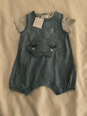 BNWT Next Baby Girl Dungarees 2 Piece Set