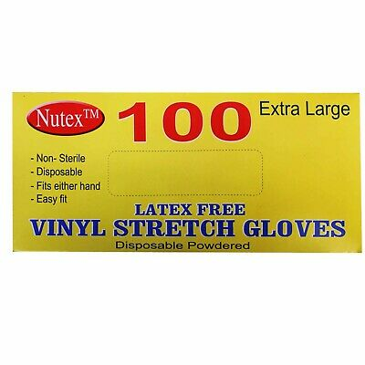 Hygenic Disposable Stretch Vinyl Gloves for Home, Work - Strong & Flexible (100)