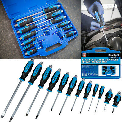 Magnetic SCREWDRIVER Set HEAVY DUTY Phillips & Slotted Go-Through SCREWDRIVERS